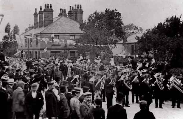 1902 Coronation procession Burley in Wharfedale led by Baildon Brass Band.