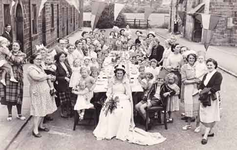 1953 Coronation Celebrations,  Peel Place, Burley in Wharfedale.