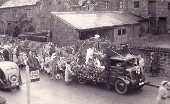 1953 Coronation Procession Main Street, Burley in Wharfedale.