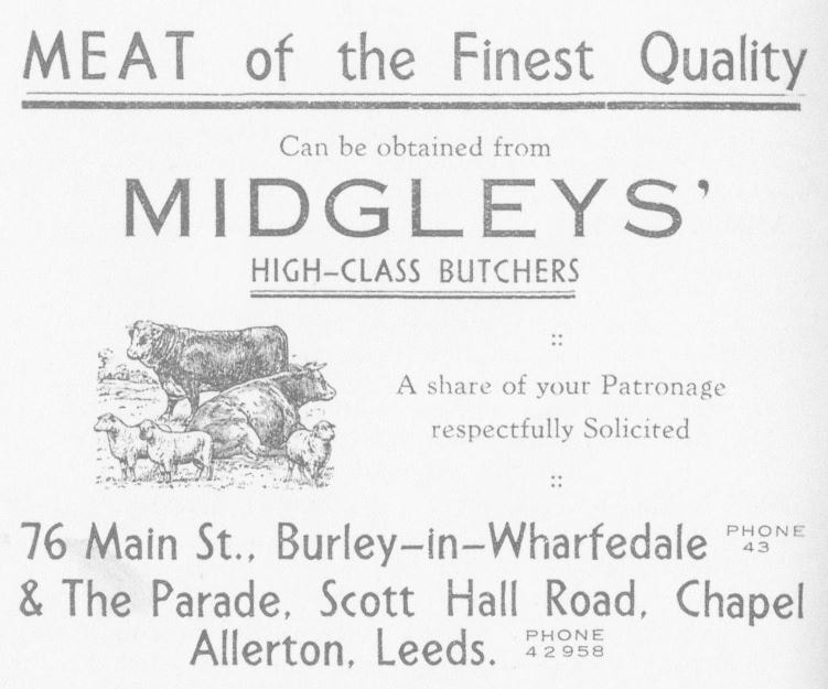 1936 Midgleys' Butchers Advert from Burley in Wharfedale Sports Club Cookery Recipes Booklet.