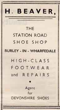 H Beaver - Shoes 4 Station Road, Burley in Wharfedale. Advert 1950s.