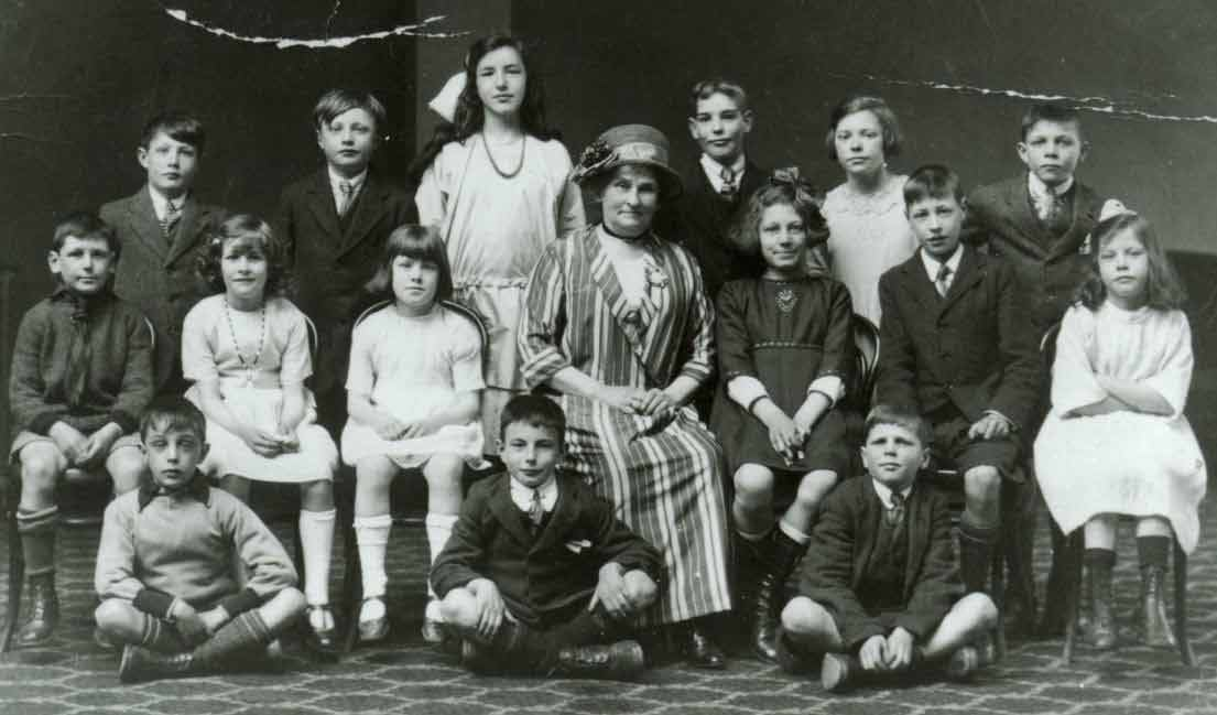 Mary Chorley and school children from Burley Woodhead School c1920s. Wharfedale Music Festival.