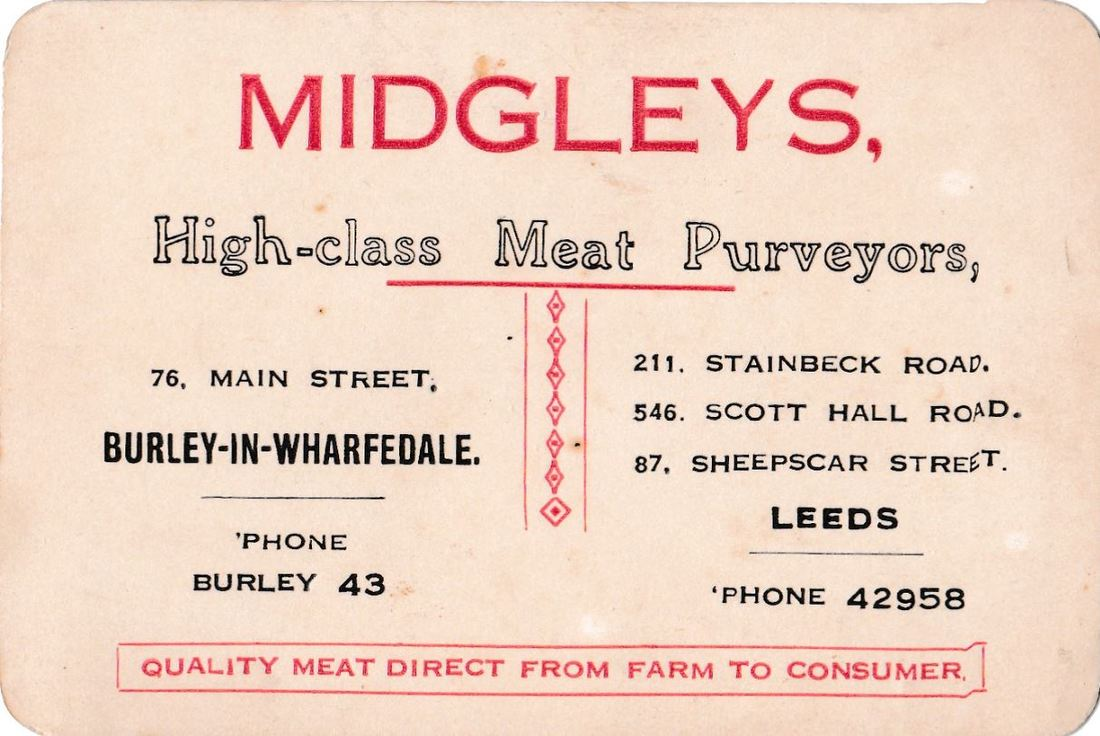 Midgleys Butchers Business Card. 76 Main Street, Burley in Wharfedale.