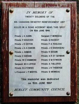 Plaque to the 20 Canadian Soldiers killed in Burley in Wharfedale on 15th June 1944.