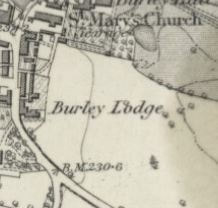 St. Mary's Church, Burley in Wharfedale, OS Map 1895