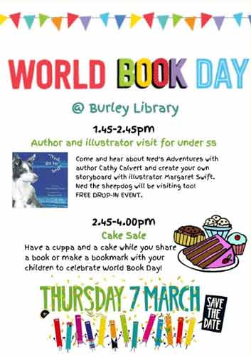 World Book Day Poster 7th March 2019 at Burley in Wharfedale Library