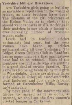 Yorkshire Mill Girl Cricketers - Leeds Mercury June 11th 1930. Greenholme Mills, Burley in Wharfedale